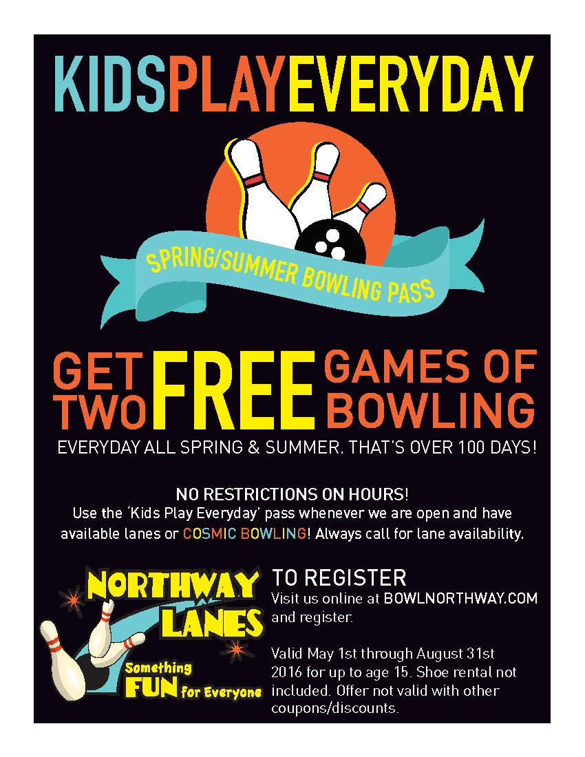 Register for Kids FREE bowling all spring/summer